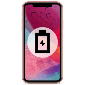 An iPhone XR battery replacement in our shop to remedy any drain or dying problems.