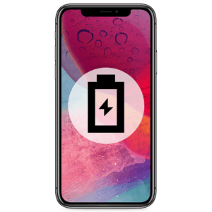 An iPhone X battery replacement in our shop to remedy any drain or dying problems.