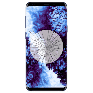 A Samsung Galaxy S9 screen replacement service to repair cracked or broken glass in our shop.