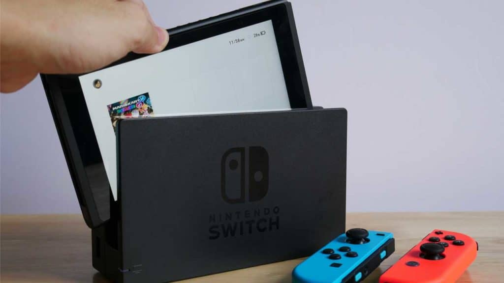 Common Nintendo Switch repairs screen scratch from inserting the console in to the docking station.
