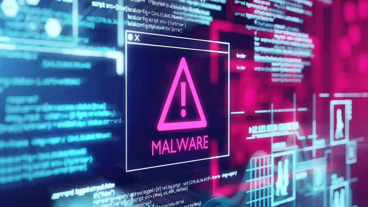 Computer virus malware detected warning message.