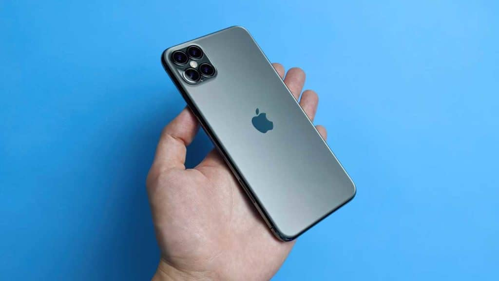 A fake mock-up version of the iPhone 12 from the rumour that the Apple phone had 4 camera lenses.