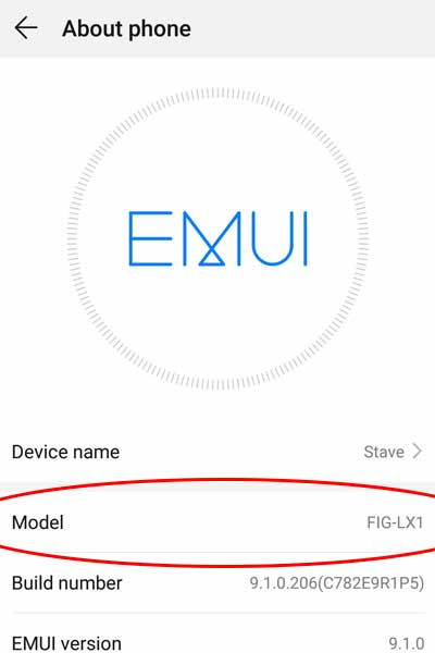 How to identify which Huawei phone you have from the about menu in settings.
