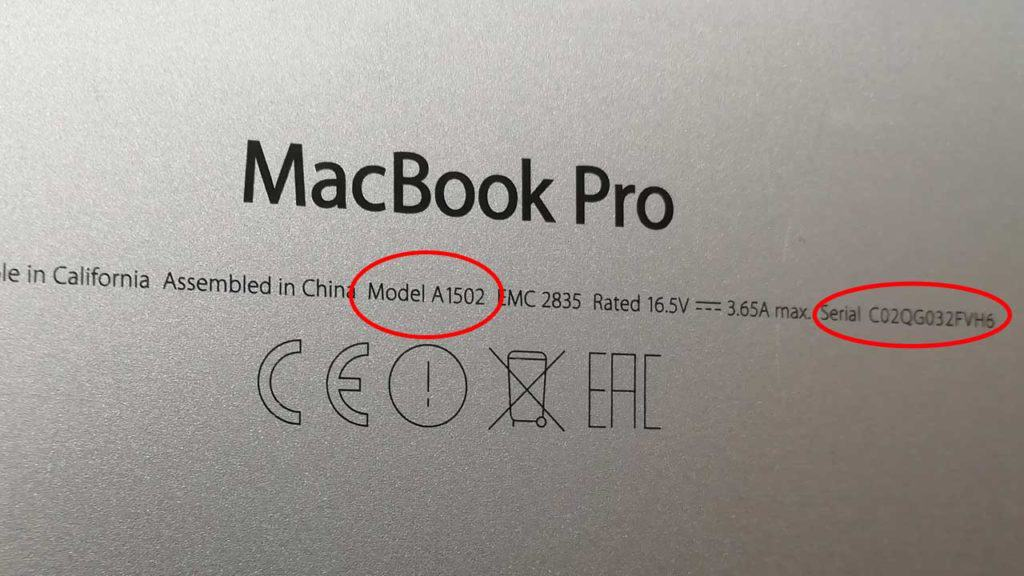 Identify which MacBook you own from the model number and serial number on the base of the laptop computer.