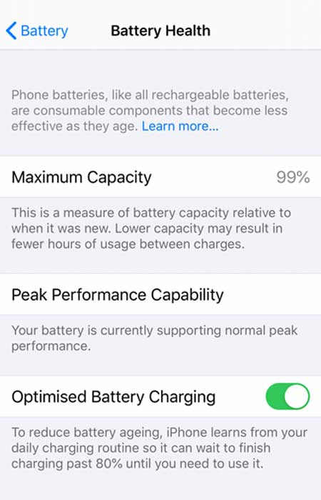 iPhone battery health menu in the settings screen.