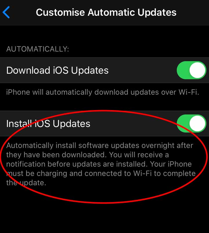 How to update iPhone iOS to the latest version in the install menu.
