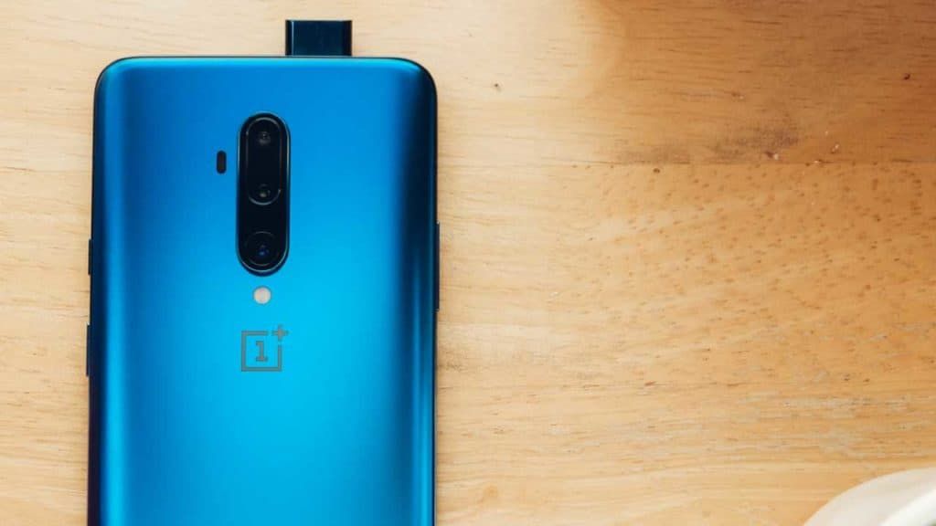 A OnePlus 7T phone rear camera with popup lens.