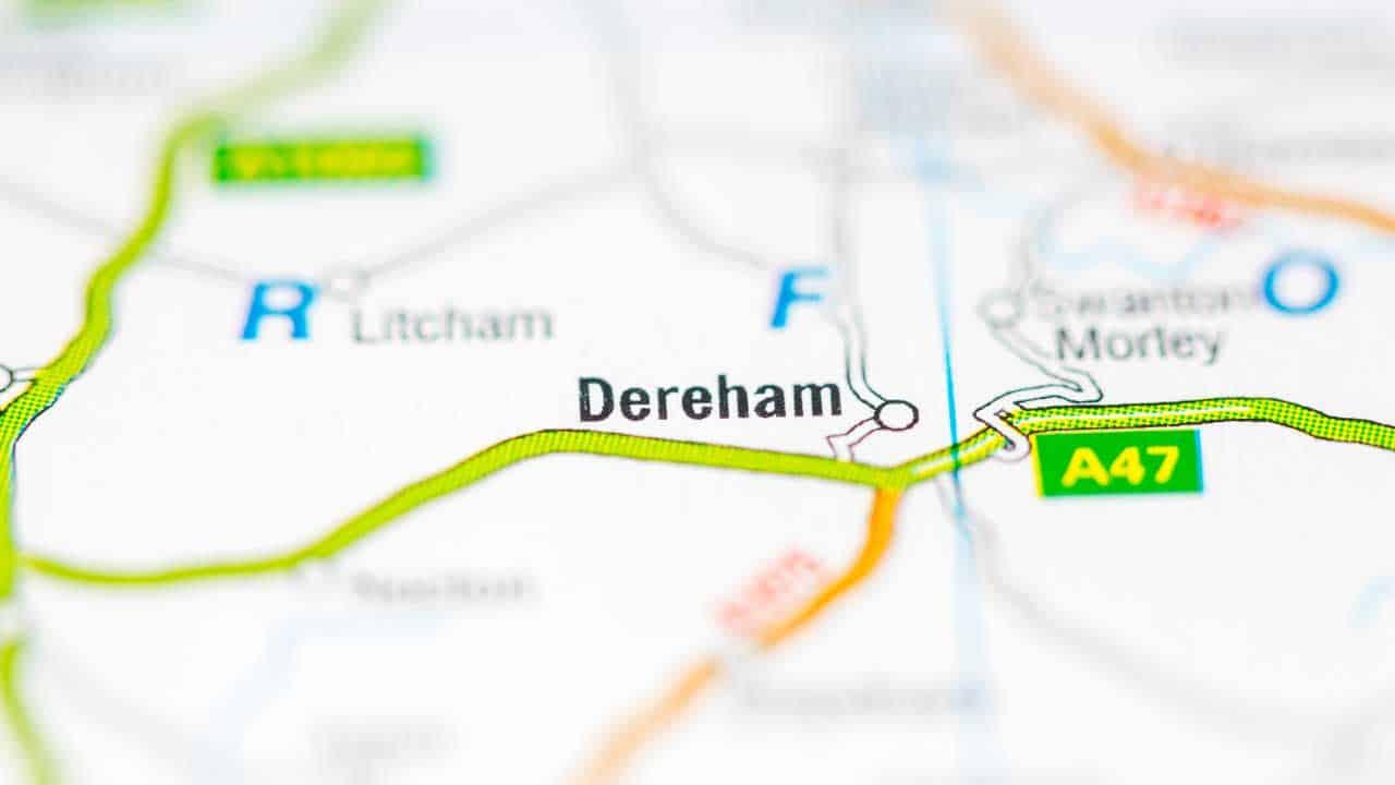 Dereham phone and tech repair shop service area map.