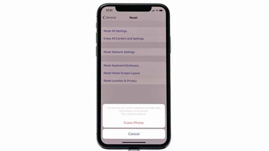 iPhone erase settings screen.