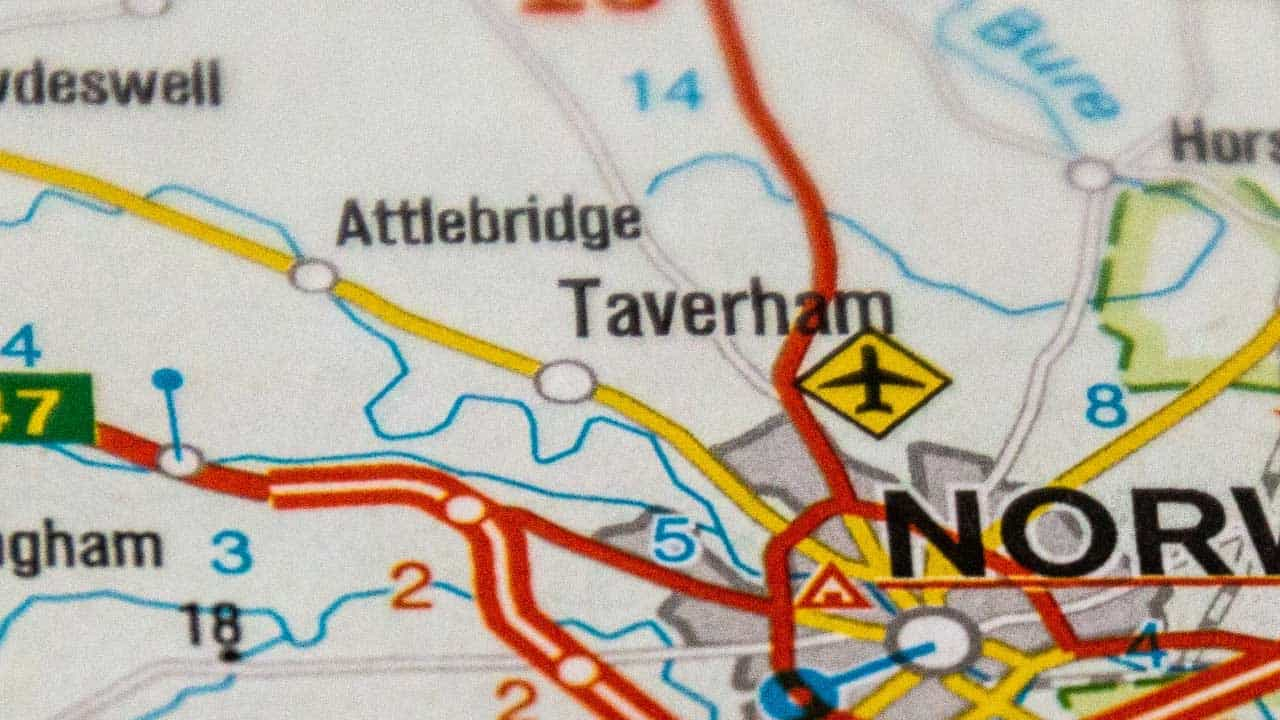 Taverham phone and tech repair shop service area map.