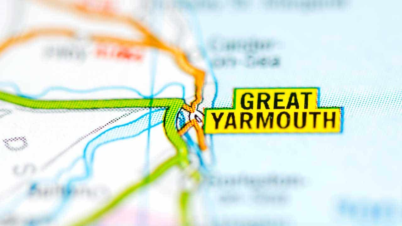 Great Yarmouth phone and tech repair shop service area map.