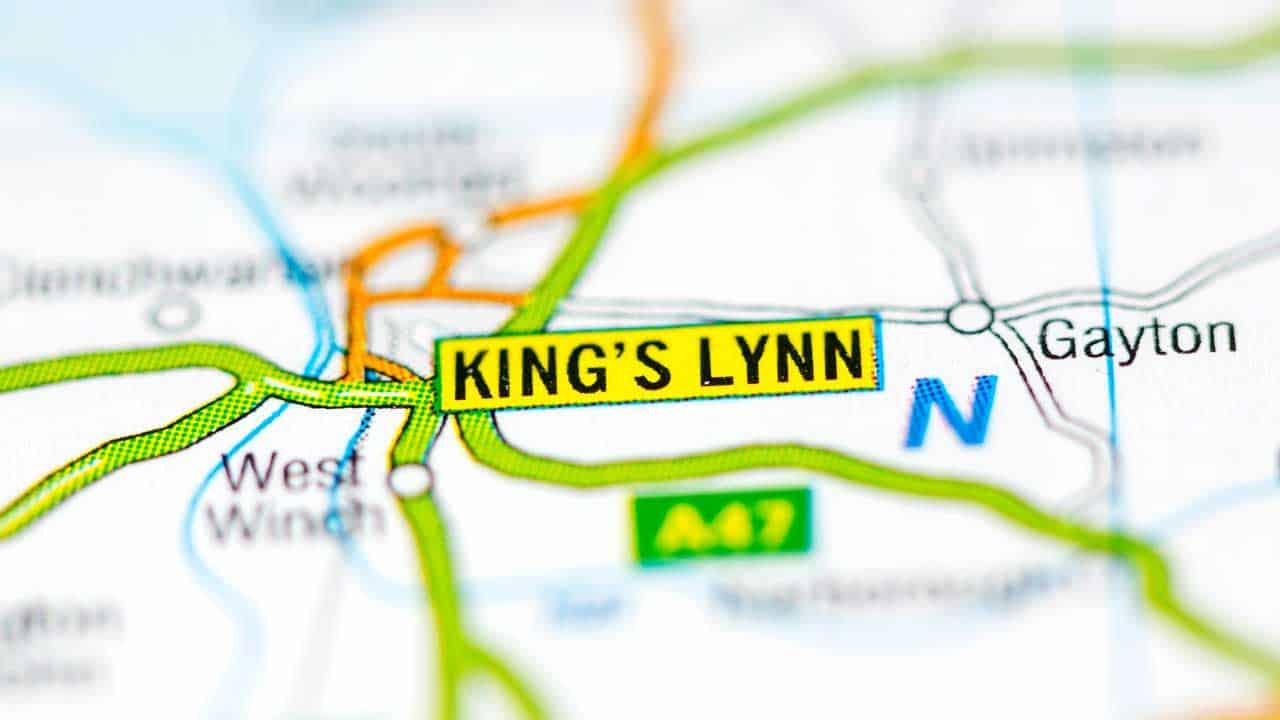 King's Lynn phone and tech repair shop service area map.