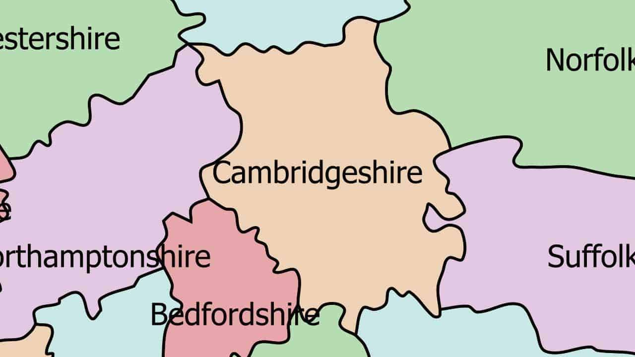 Phone repair Cambridgeshire shop map in the UK.
