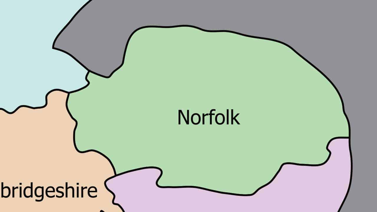Phone repair Norfolk shop map in the UK.