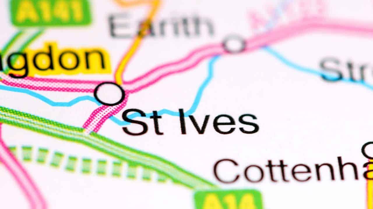 Phone repair St Ives Cambridgeshire shop map.