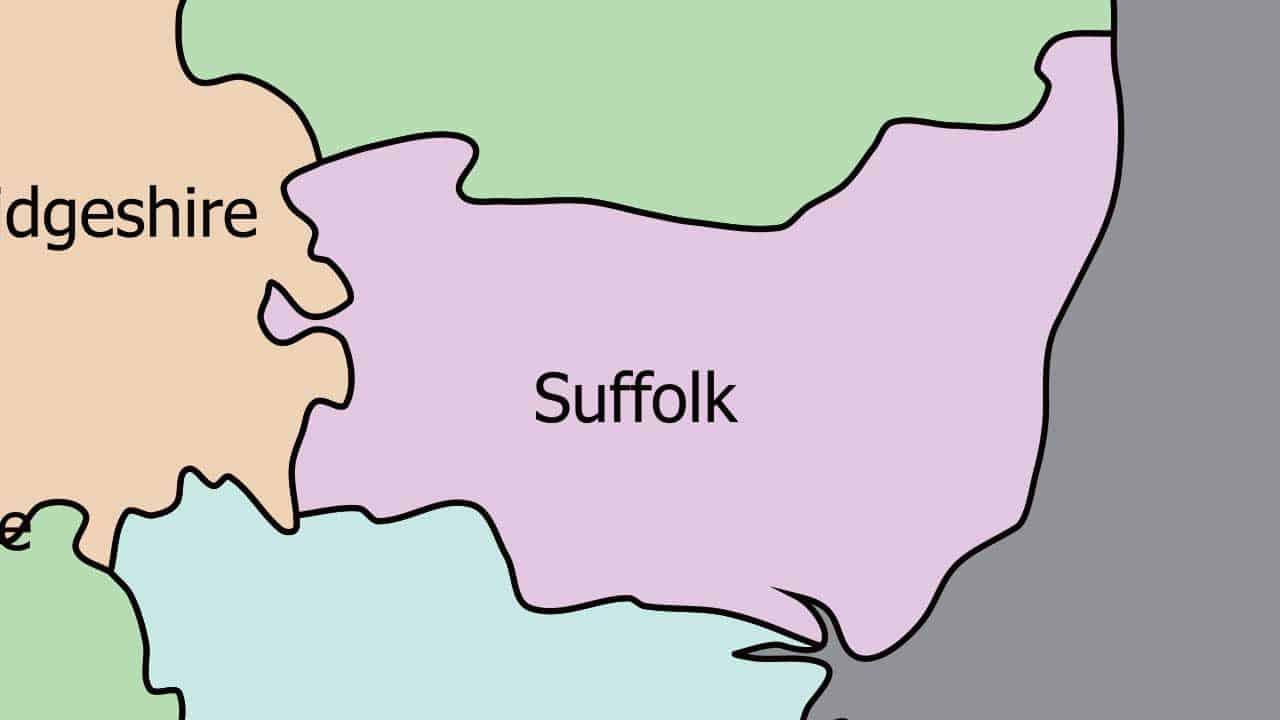 Phone repair Suffolk shop map in the UK.