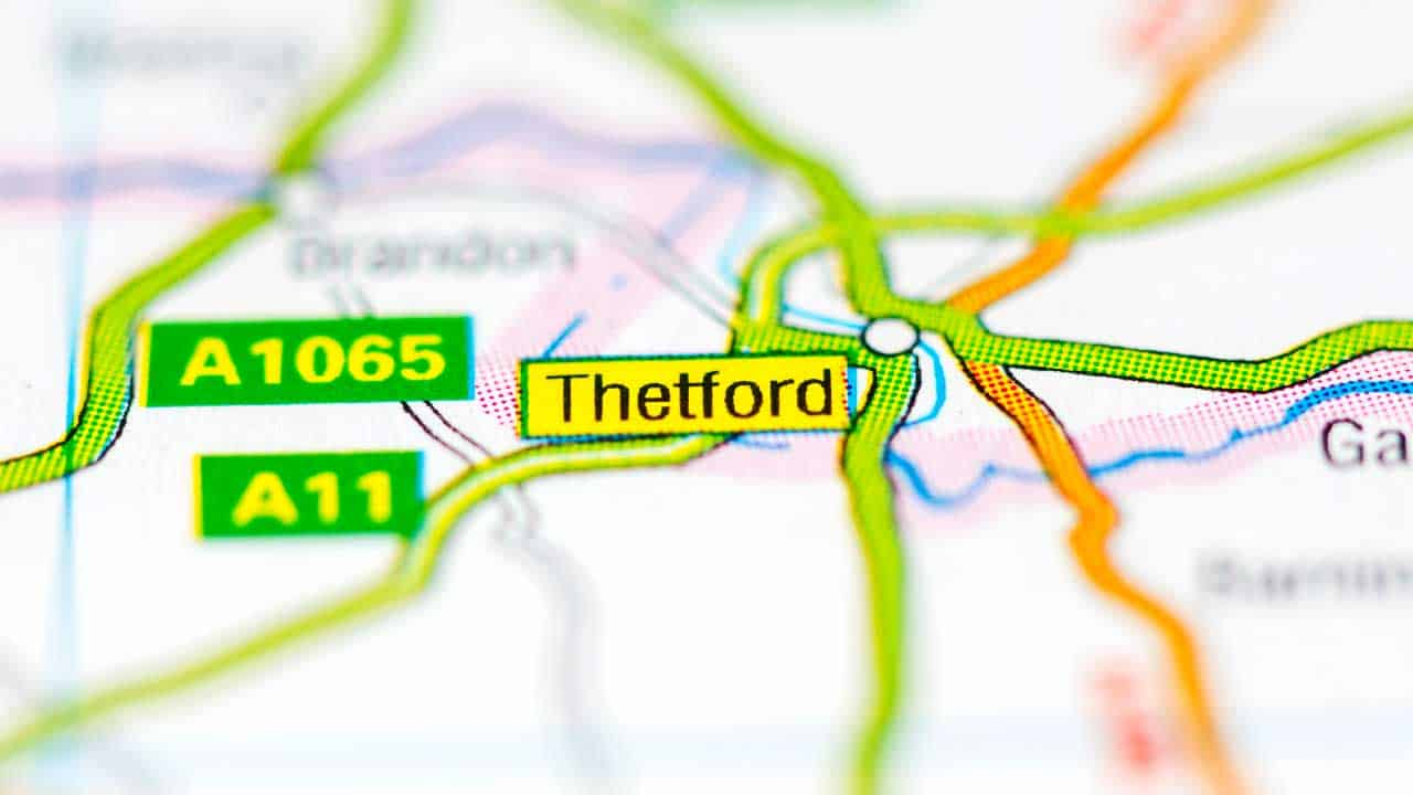 Thetford phone and tech repair shop service area map.