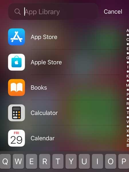 Apple iOS 14 app library menu screen for iPhone.