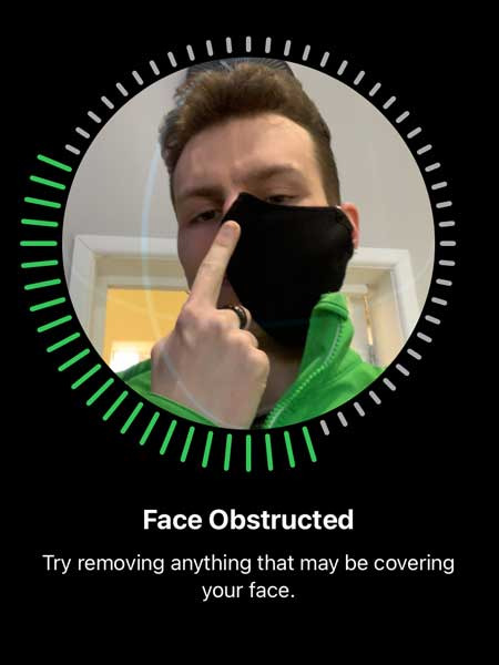 Set-up Face ID with a mask obstructed image screen.
