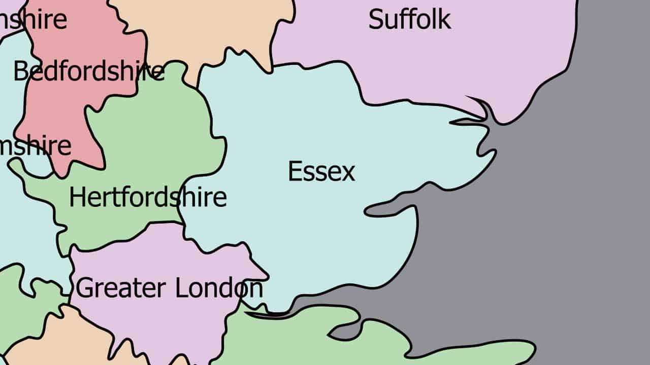 Phone repair Essex shop map in the UK.