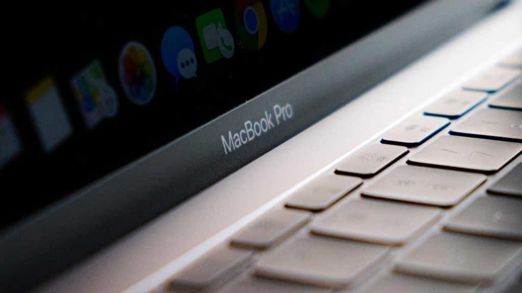 A MacBook Pro screen and keyboard.