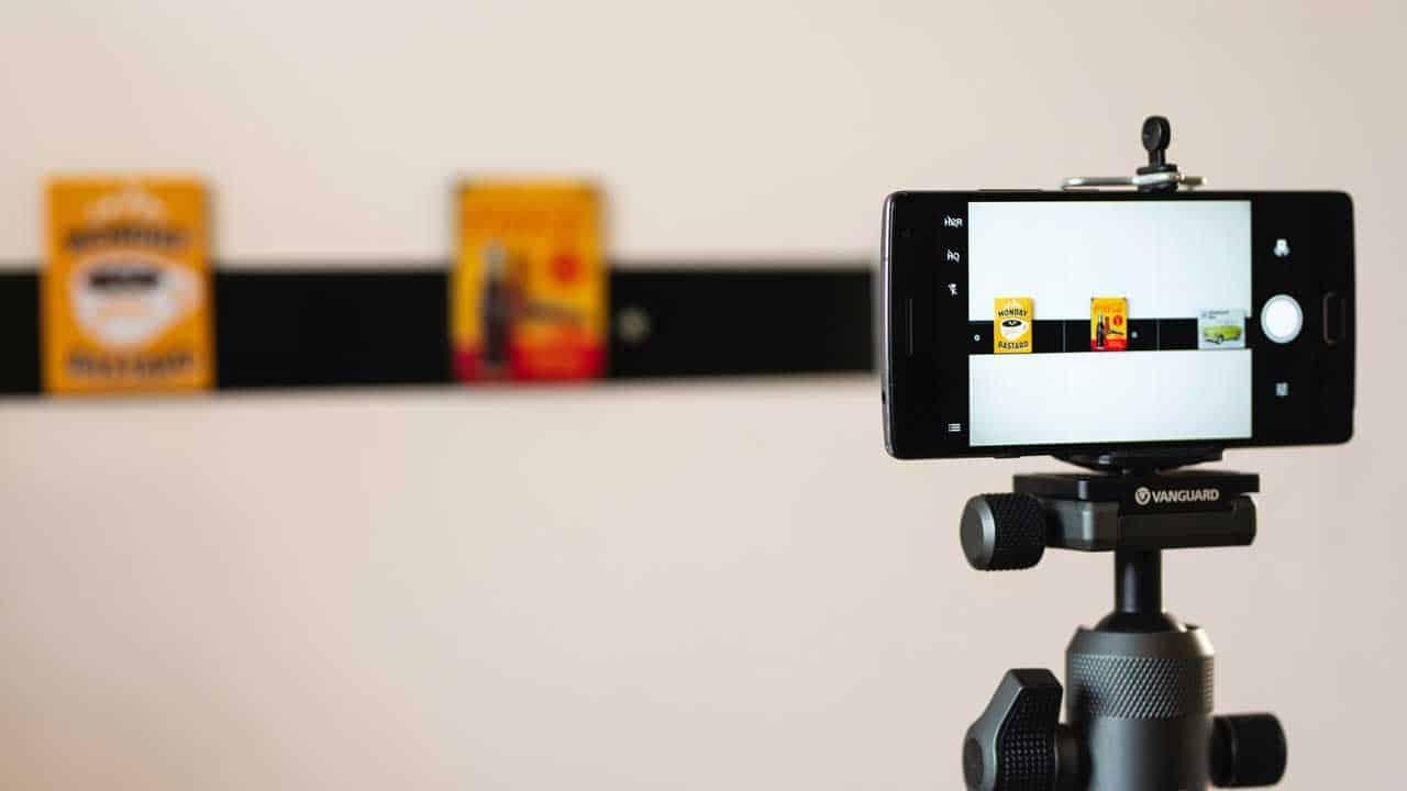 A setup phone as a webcam on an iPhone.