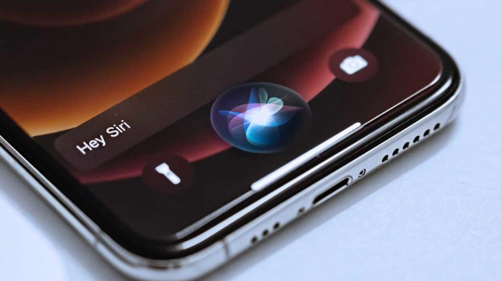 Siri voice activated assistant app on an iPhone screen.