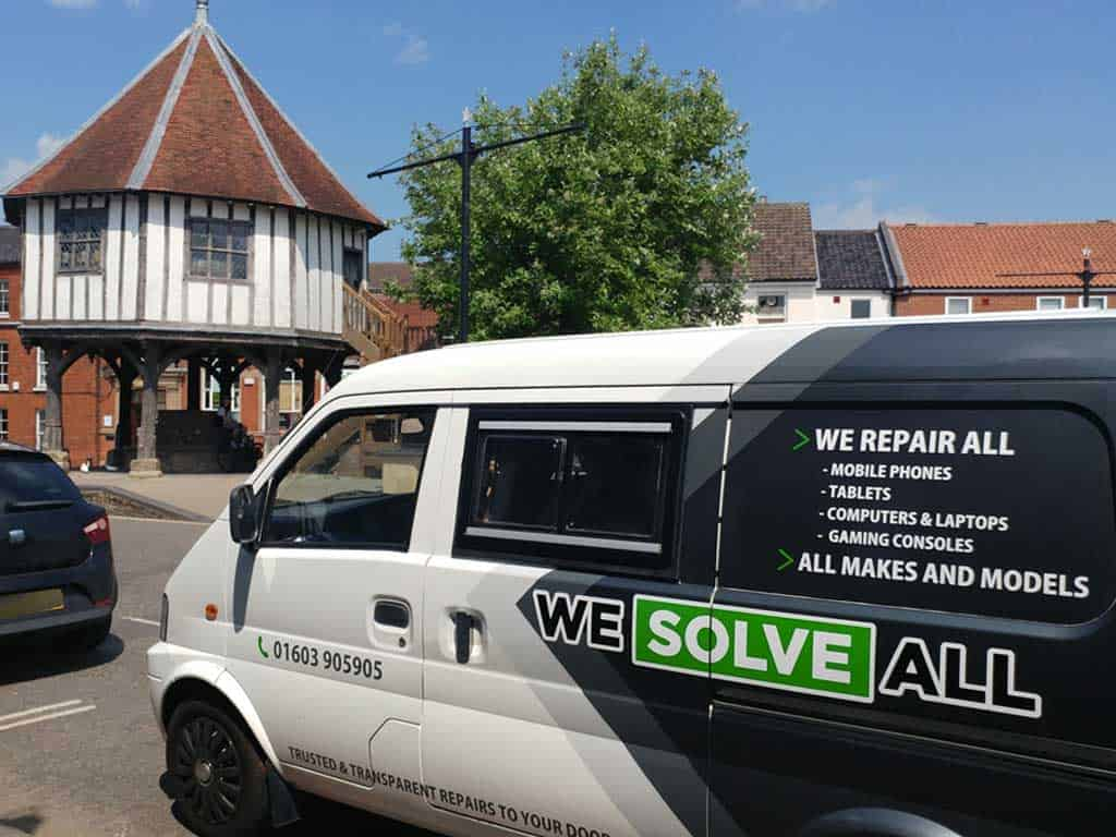 Our phone repair Wymondham shop with the call out van in front.