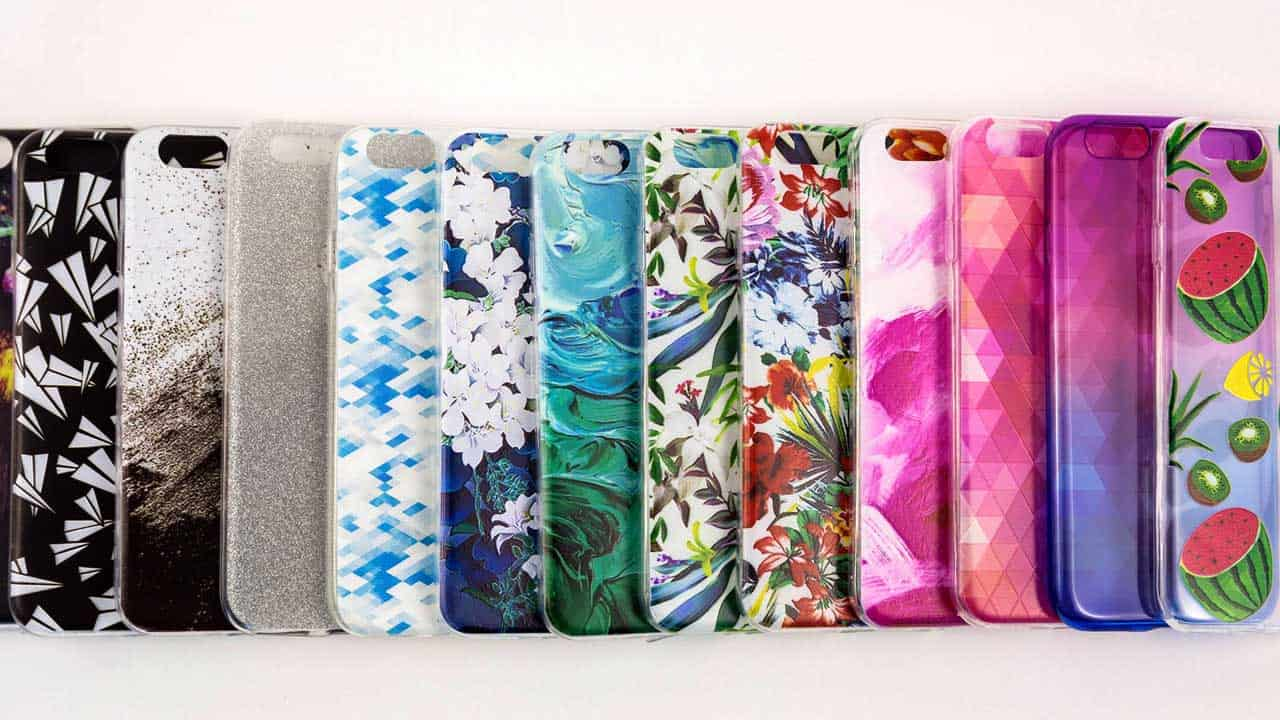 An array of cases to choose from to protect a mobile phone.