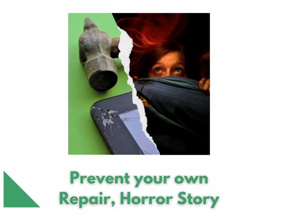 Prevent a phone repair horror story image of a scared person.