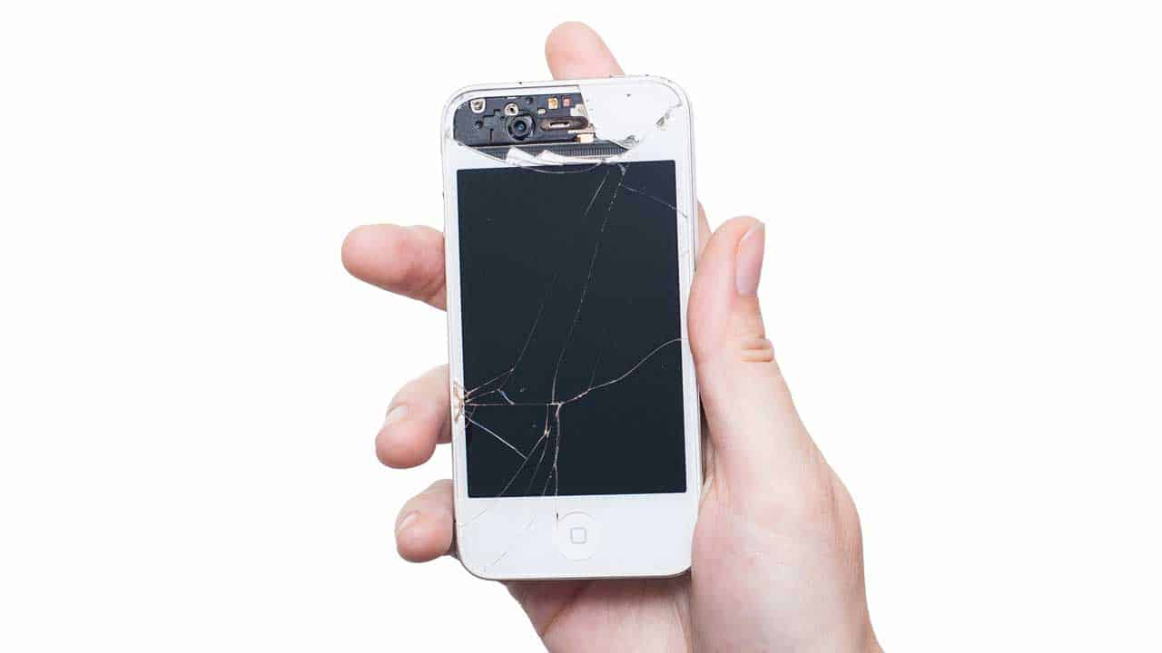 An iPhone screen repair is needed for broken glass and the surrounding case.
