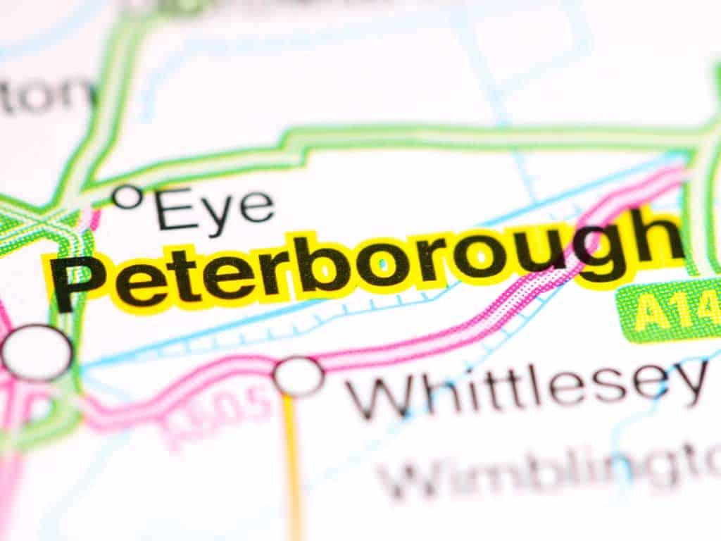Tech and phone repair in Peterborough shop map, UK.